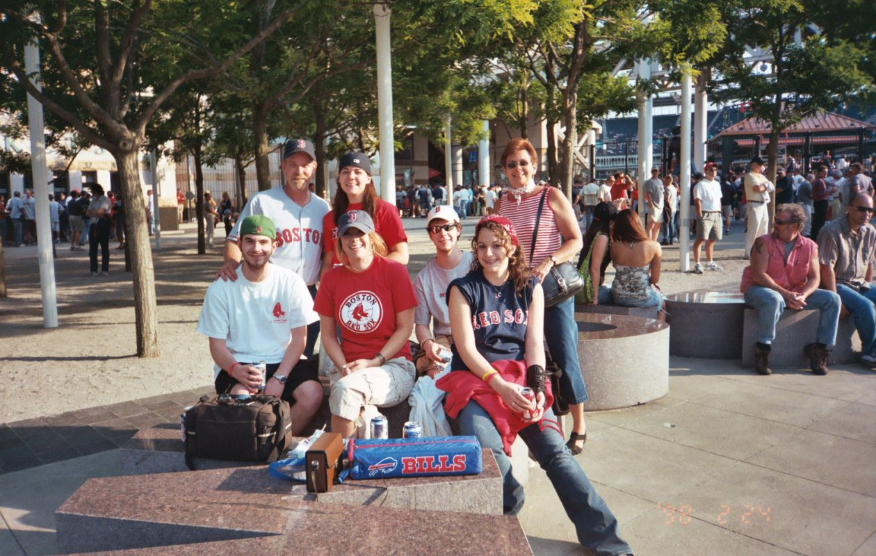 Writer Erin Morris with her family at a 2005 Red Sox game in Cleveland.