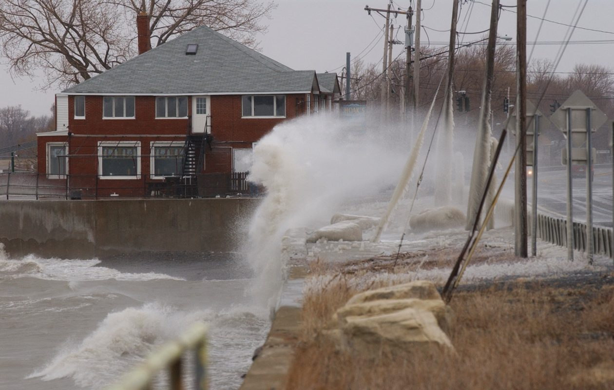 High winds send icy waves from Lake Erie crash onto passing cars on Route 5 in Hamburg. (Derek Gee/News file photo)