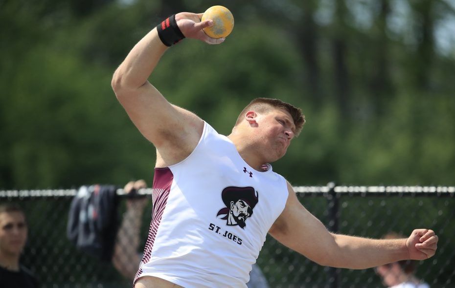 Tyler Doty, in photo from last year's competition, is favored to repeat as champion in the shot put and discus events in this weekend's All-Catholic meet at St. Francis. (Harry Scull Jr./News file photo)