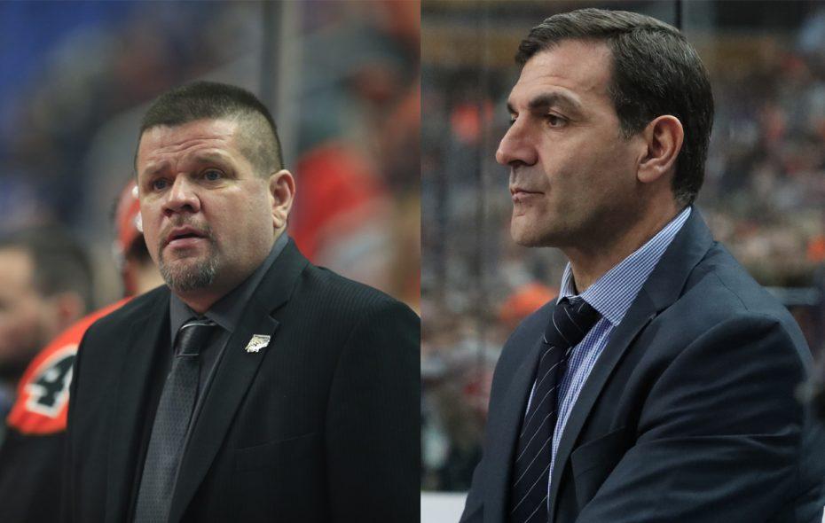 John Tavares, right, and Rich Kilgour on the Bandits' bench last season. (News file photo)