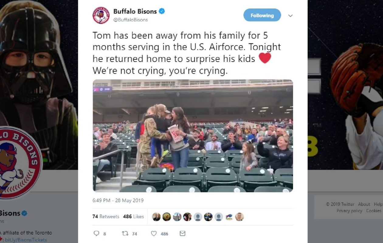 After 5 months away, Air Force dad surprises family at Bisons game