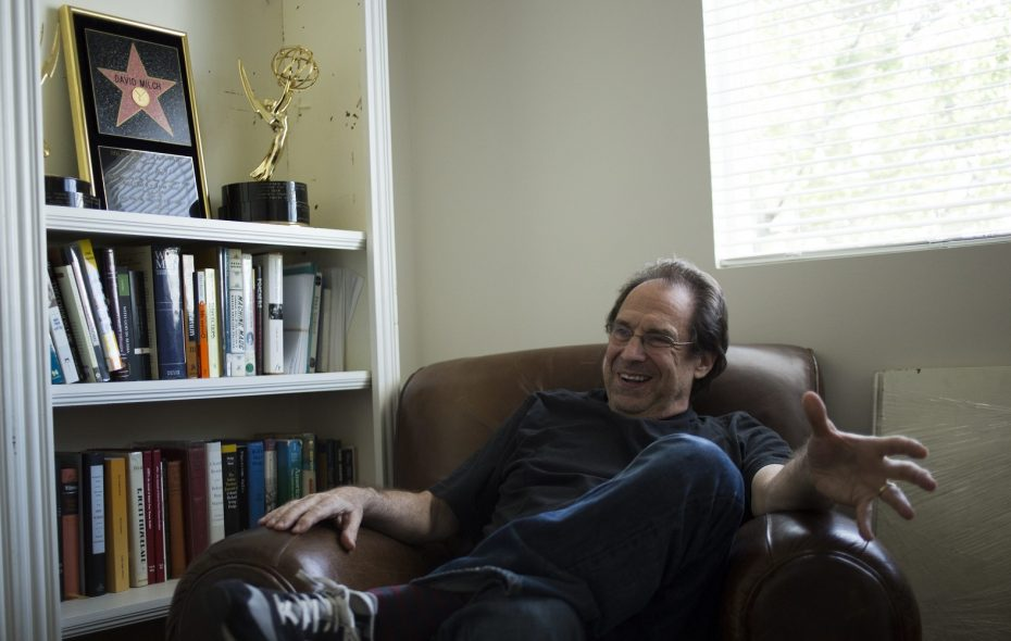 """David Milch, pictured in the Santa Monica office where he wrote the new """"Deadwood"""" movie, verbalizes his writing for an assistant who transcribes his words. (Photo by Jenna Schoenefeld/Special to The News)"""