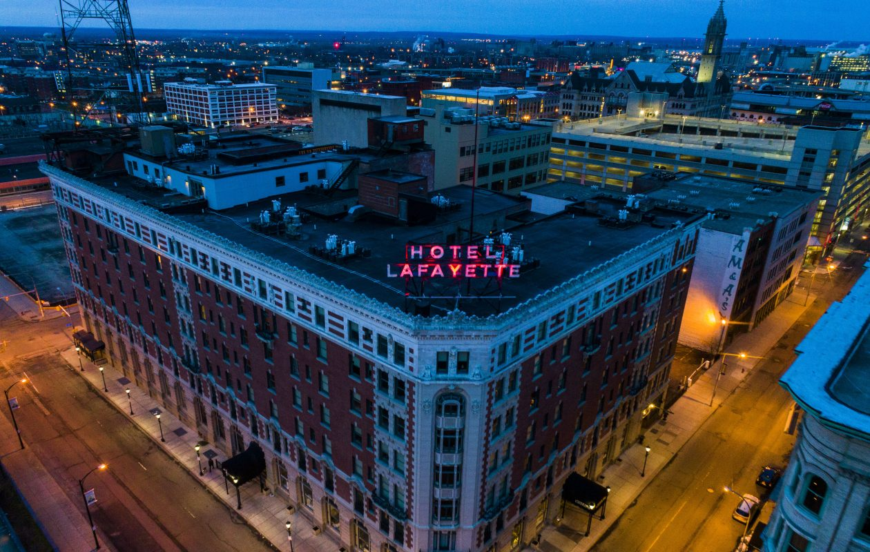 The Hotel Lafayette. Future redevelopments like this one, which receive incentives, would be covered by an expanded prevailing wage, under proposed legislation. (Derek Gee/Buffalo News)