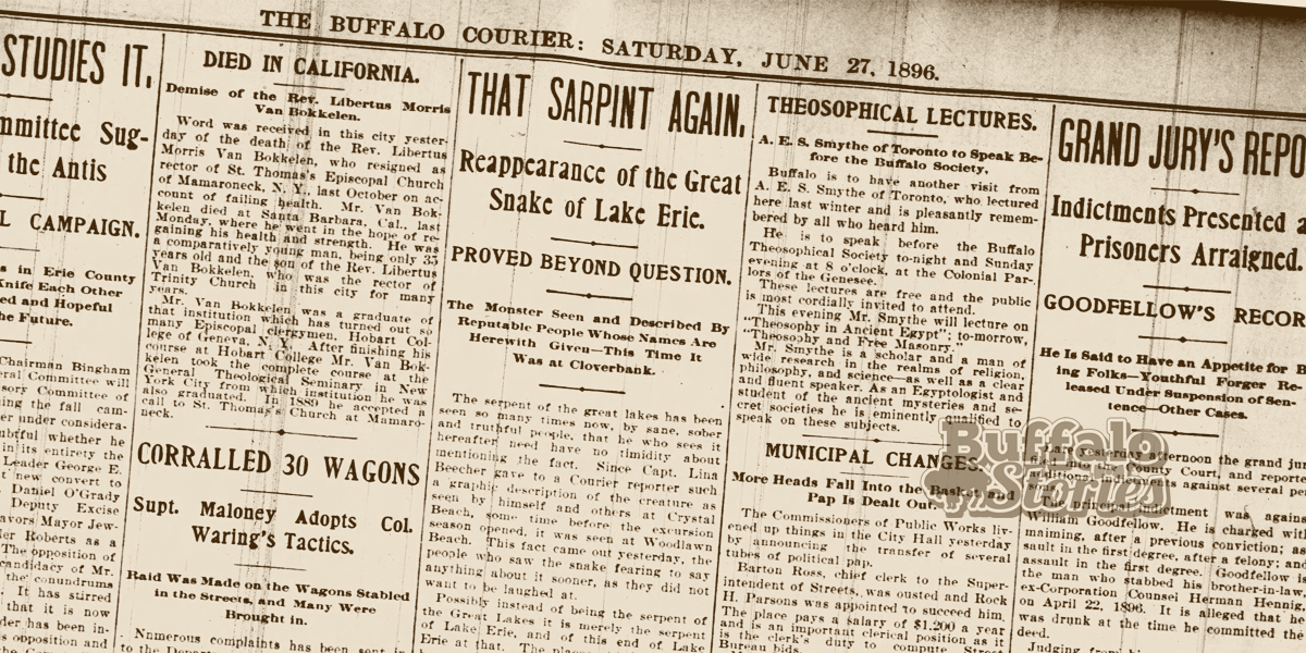 The report of the Lake Erie  'sarpint' as it appeared in the Buffalo Courier.