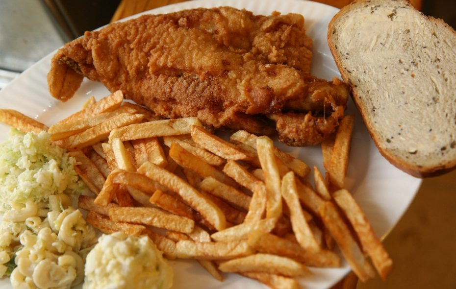 A fish fry, from the R & L Lounge on Mills Street. (Sharon Cantillon/ Buffalo News)