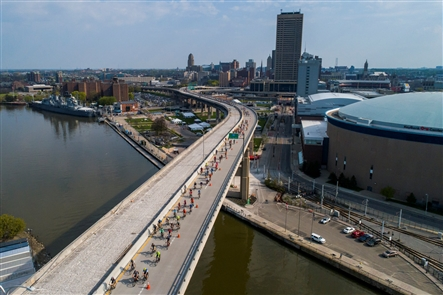 GObike Buffalo's annual fundraiser, the SkyRide, takes cyclists on an 18-mile tour through Buffalo, at times using highways that would otherwise be off-limits to bicycle riders.
