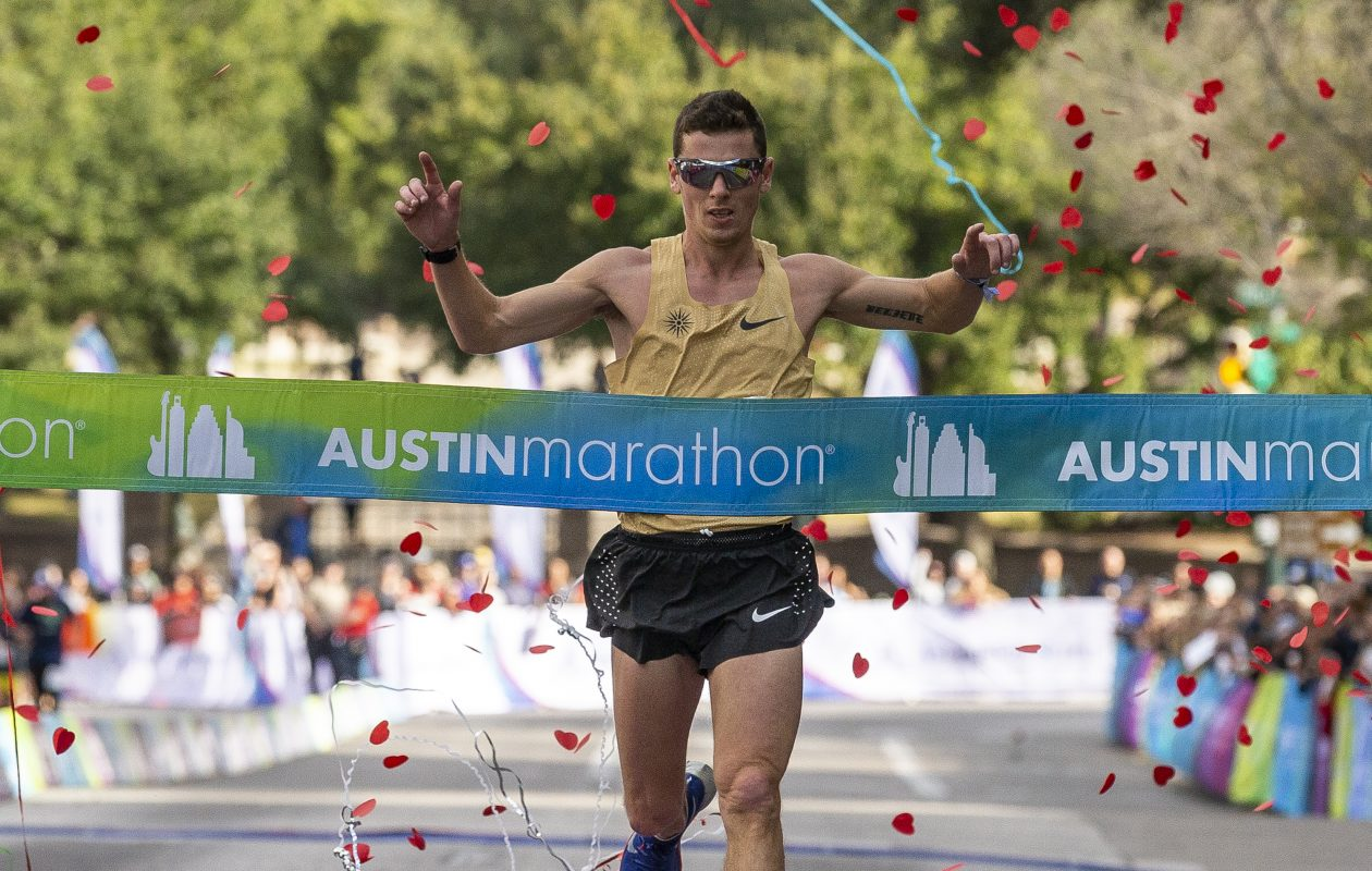 Joseph Whelan, of Spring Branch, Texas, finishes first overall during the Austin Marathon on Sunday, Feb. 17, 2019. Whelan, who finished second in the Buffalo Marathon in 2017, is from Hamburg. (Stephen Spillman for Austin Statesman)