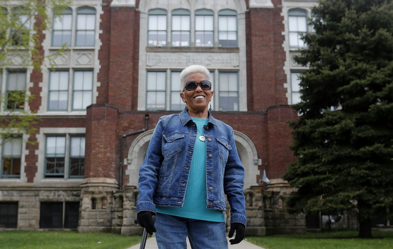 Last month, Sandra Anderson Garcia visited Buffalo School No. 32 on Clinton Street, which had a life-changing impact on her as a child. Anderson Garcia's great-great aunt, Grace Taylor Pendleton, became the first African American to attend the old Central High School in Buffalo. (Mark Mulville/Buffalo News)
