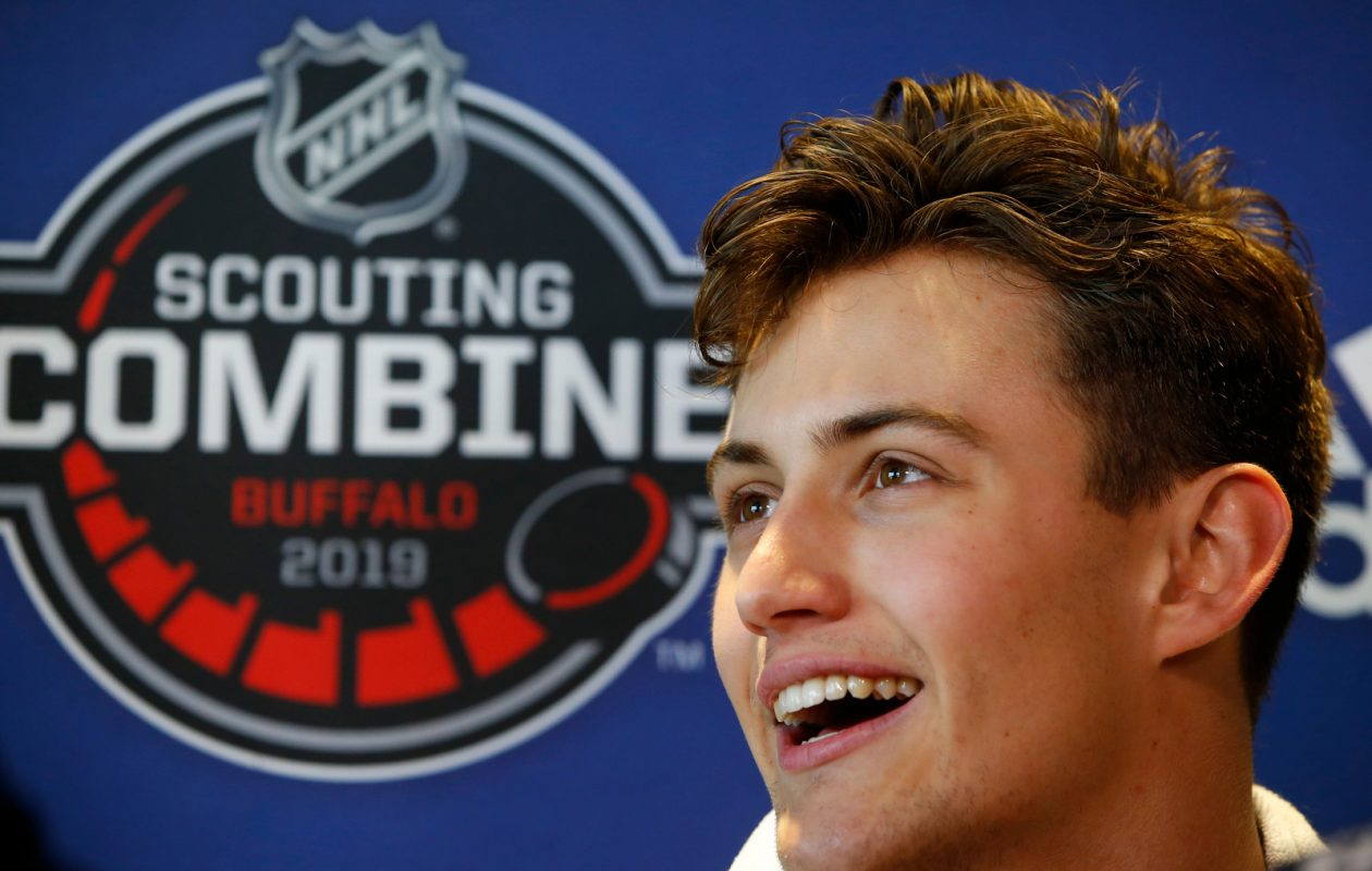 NHL prospect Case McCarthy meets with the media after finishing the fitness testing at the 2019 NHL Scouting Combine at HarborCenter on Saturday, June 1, 2019. (Harry Scull Jr./Buffalo News)