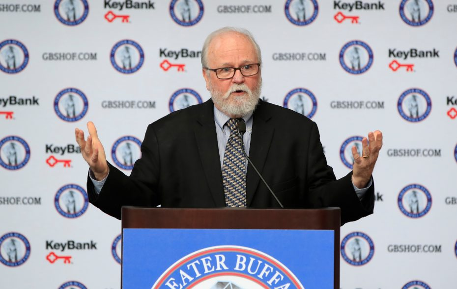 Greater Buffalo Sports Hall of Fame 2019 Inductee, Joe Horrigan, Executive Director of the Pro Football Hall of Fame speaks during a news conference at the KeyBank Center on June 4, 2019. (Harry Scull Jr./Buffalo News)