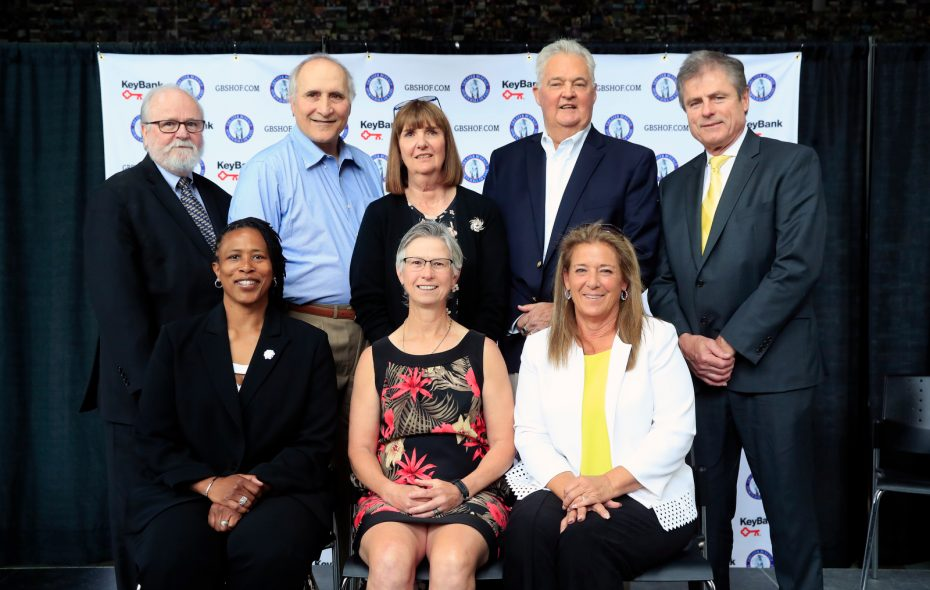 Greater Buffalo Sports Hall of Fame 2019 Class: Front row: Dorothy Jones, Barbara Wachowiak and Colleen Kelleher, daughter of Ed Hughes. Back row: Joe Horrigan, Pete Scamurra and Peggy Wattles-Dreyden, daughter of Peggy Wattles,  Chuck Crist and Len Jankiewicz. (Harry Scull Jr./Buffalo News)