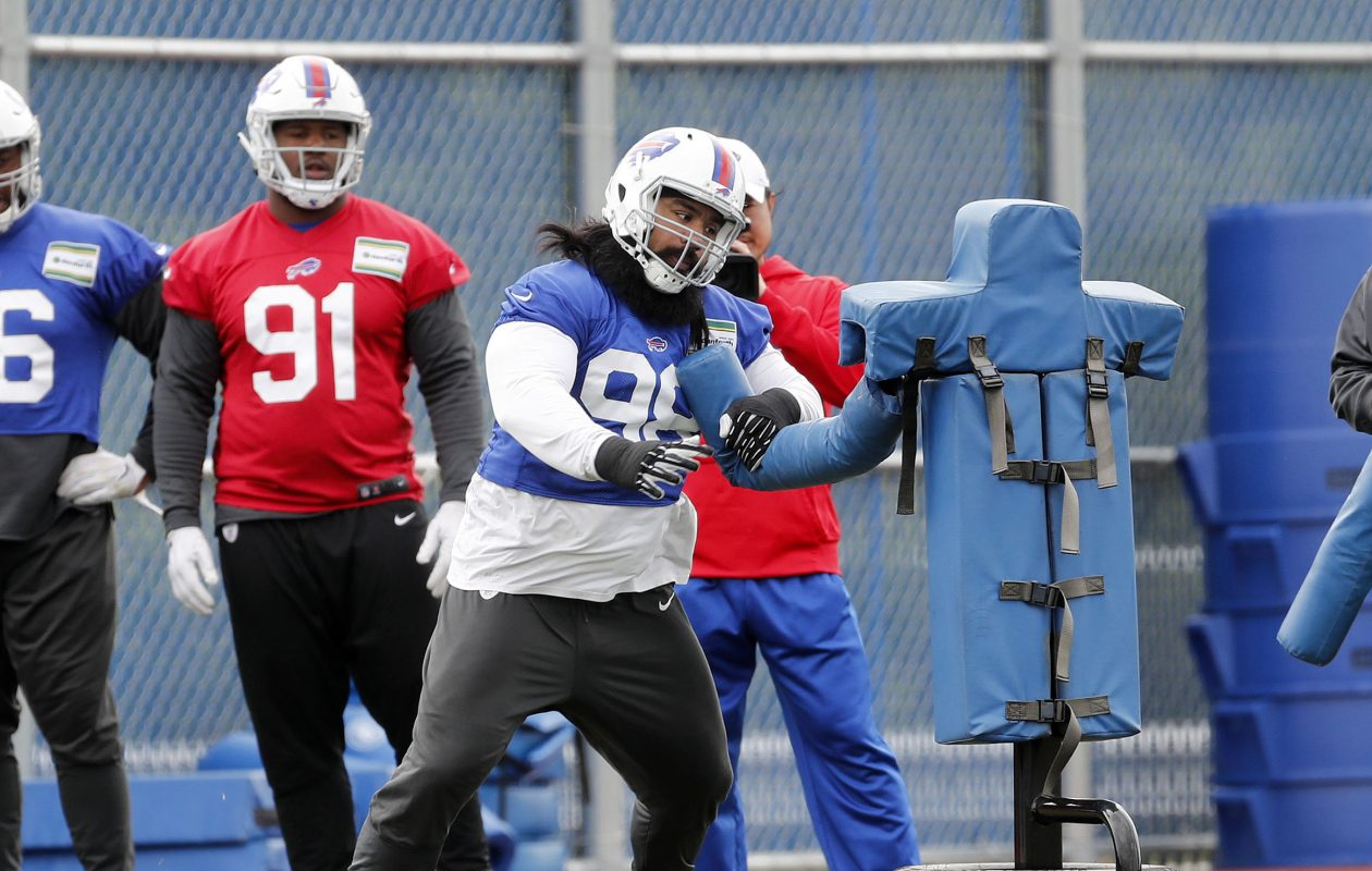 Defensive lineman Star Lotulelei runs through a drill during Tuesday's workout in Orchard Park. (Mark Mulville/Buffalo News)