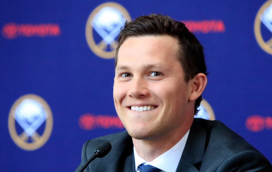Buffalo Sabres Jeff Skinner speaks at a news conference after signing an eight-year, $72 million contract on Tuesday, June 11, 2019. (Harry Scull Jr./Buffalo News)