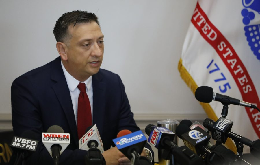 David Bellavia, presidential nominee for the Medal of Honor, addresses the media during a news conference at the U.S. Army Recruiting Station in Cheektowaga. (Derek Gee/Buffalo News)