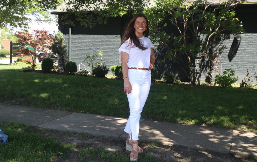 Katherine Kolber, marketing director of Buffalo Dental Group, wears a favorite summer outfit for Fashion Friday. (John Hickey/Buffalo News)