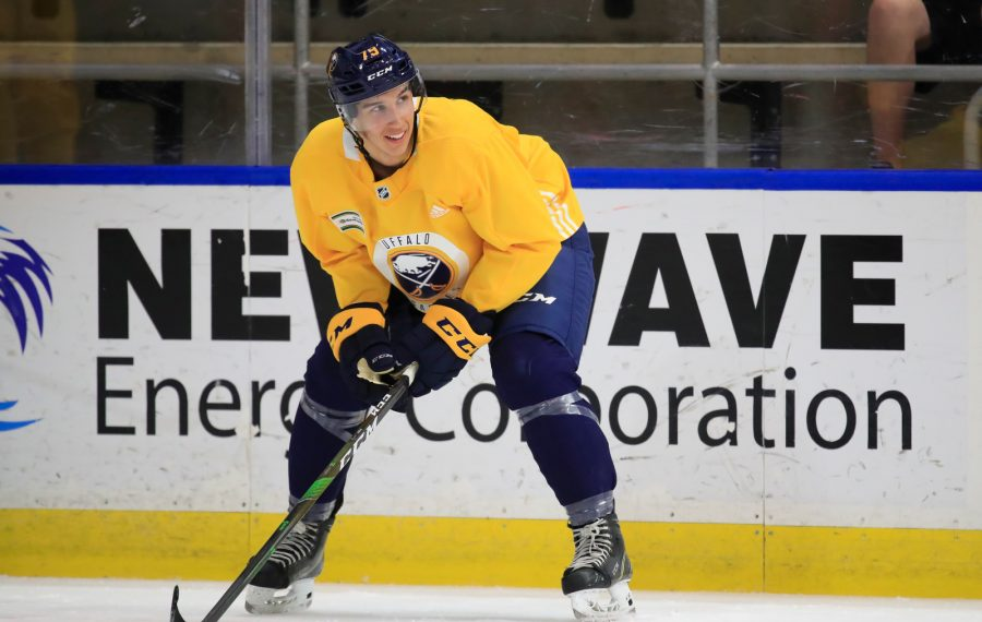 Buffalo Sabres prospect Dylan Cozens during development camp on Wednesday, June 26, 2019. (Harry Scull Jr./Buffalo News)