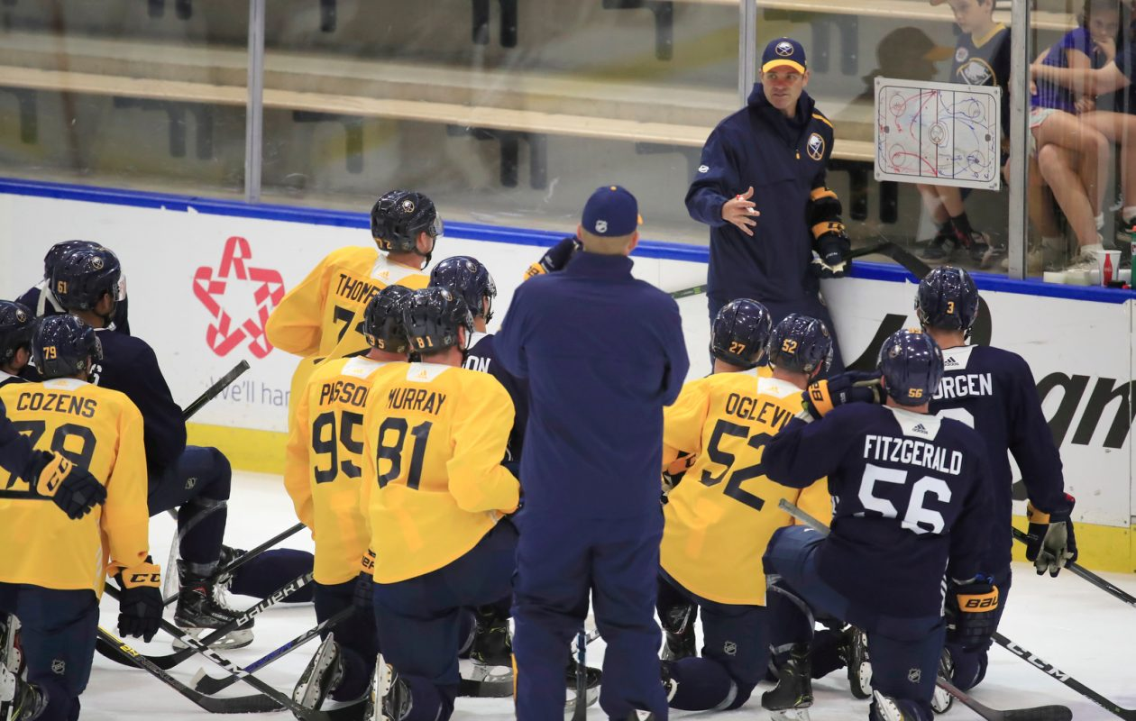 Rochester Americans coach Chris Taylor talks with Buffalo Sabres prospects during development camp on Wednesday, June 26, 2019. (Harry Scull Jr./Buffalo News)