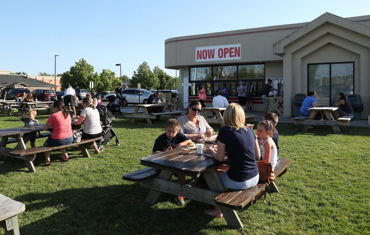 Adrian's Custard & Beef moved across the street from its former Grand Island Boulevard digs. There's still outdoor seating, but the inside space is a welcome addition. (James P. McCoy/Buffalo News)