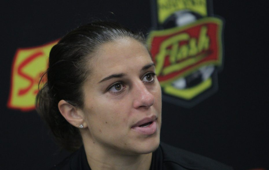 Carli Lloyd during a news conference for the Western New York Flash in 2014. (Sharon Cantillon/Buffalo News file photo)