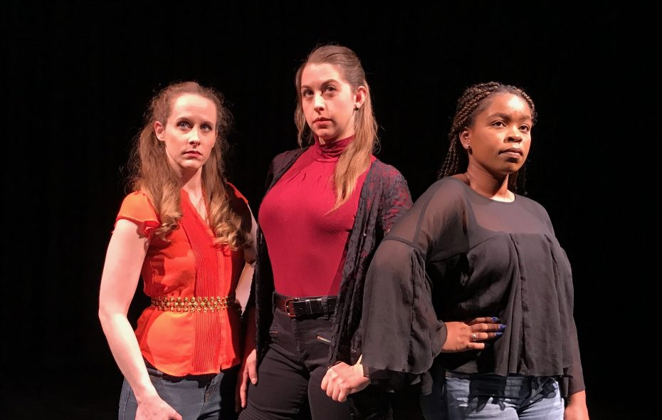 """Jamie Nablo,Emily Yancey and Ember Tate act as anchors for """"Girls Who Walked On Glass,"""" now at Alleyway Theatre."""