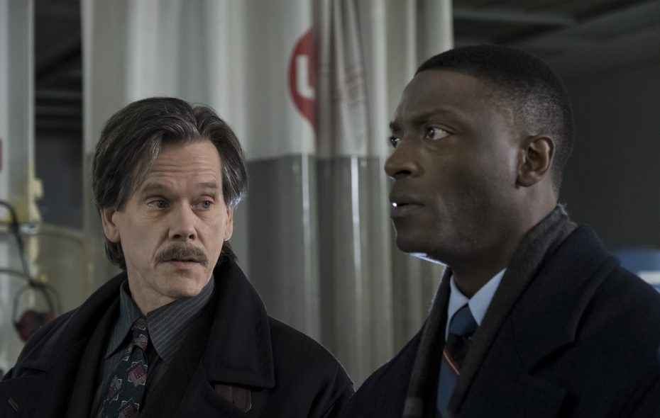 """Kevin Bacon as Jackie Rohr, left, and Aldis Hodge as Decourcy Ward in """"City on a Hill."""" (Francisco Roman/Showtime)"""