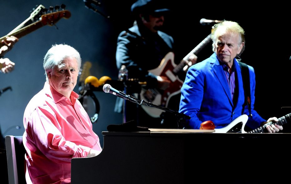 Brian Wilson, left, performs with Al Jardine on May 26, 2017, in Los Angeles. (Getty Images)