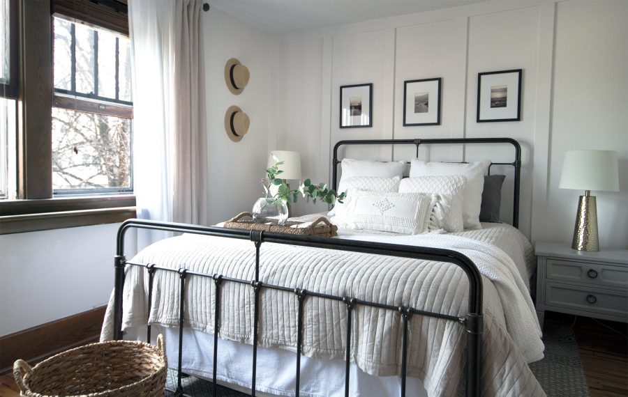 """Interior designer Caroline Barr created this serene master bedroom for a client in South Buffalo. The framed prints above the bed are from three of the homeowner's favorite places. """"It's something I love to do for my clients because it brings a sense of happiness and self to their bedroom,"""" she says.  (Courtesy Caroline Barr)"""