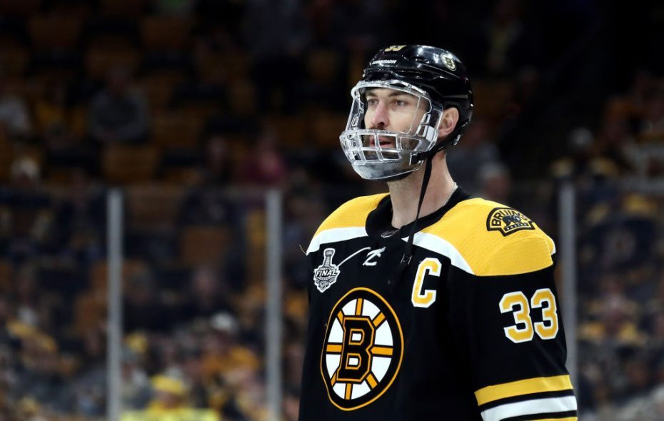 Zdeno Chara is playing with a full face shield. (Getty Images)
