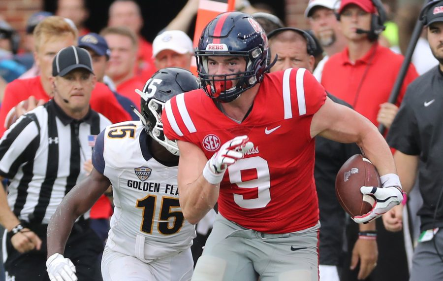 Dawson Knox did not have a touchdown catch in his college career. (Josh McCoy/Ole Miss Athletics)