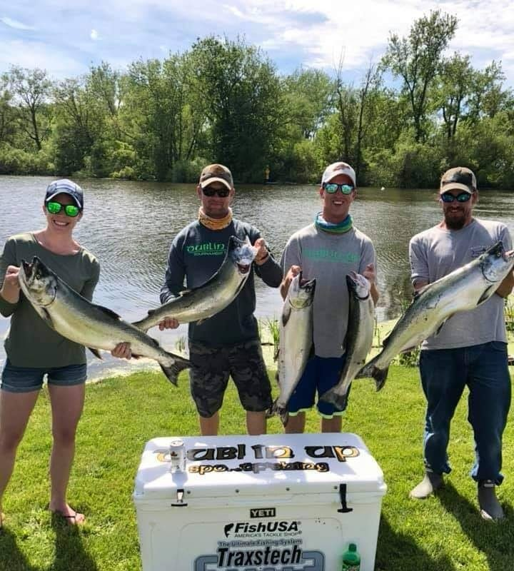 Dublin Up, a team led by Capt. Carl Martin of Pendleton, took top honors in the Orleans Open Tournament last weekend. From left are team members Tracy Lynn of Newfane, Martin, Kyle Duncan of Newfane and Capt. Tyler 'Taz' Morrison of Appleton. (Carl Martin photo)