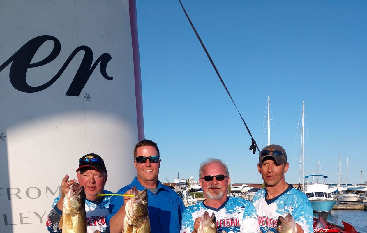 The Forever Fishing Team - from left are Gregg Shevay of Hamburg, Steve Ball of Alden, Bob Rustowicz of Cheektowaga and Tom Brunn of South Wales - show off their winning catch in the 2019 Budweiser Can-Am Walleye Challenge out of Port Colborne, Ontario. (Bob Rustowicz photo)