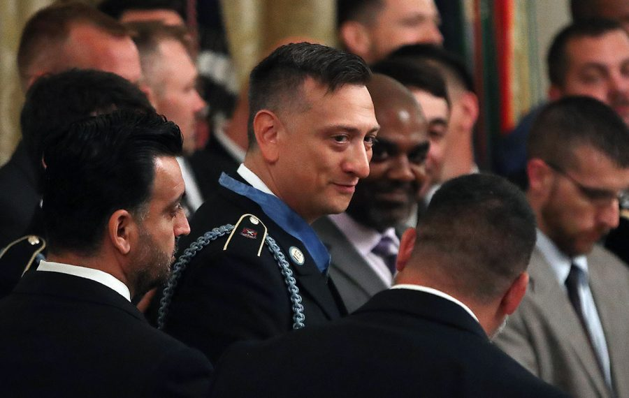 David Bellavia stands with the men he served with in Iraq after President Trump gave him the Medal of Honor on June 25, 2019. (Getty Images)