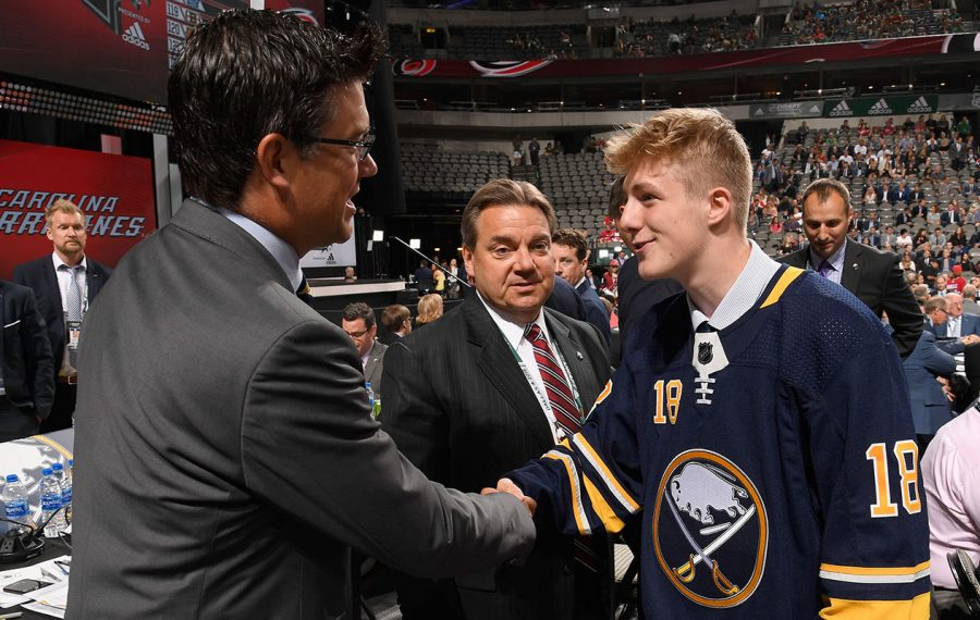 Matej Pekar greets Ryan Jankowski after being selected 94th overall during the 2018 NHL draft. (Brian Babineau/NHLI via Getty Images)