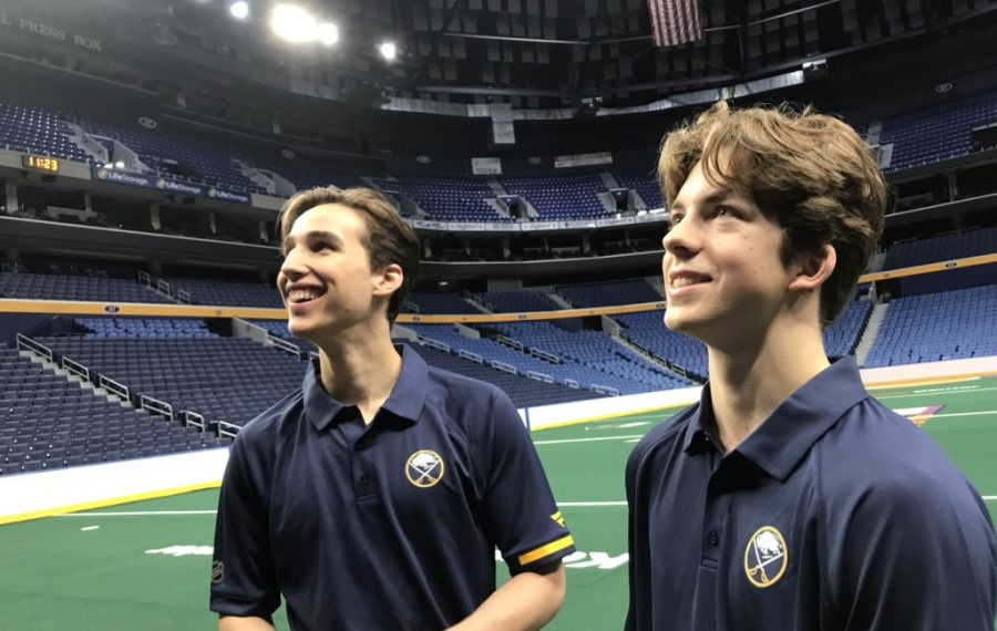 Sabres first-round draft picks Dylan Cozens, left, and Ryan Johnson check out KeyBank Center after meeting the media Tuesday morning (Robert Kirkham/Buffalo News).