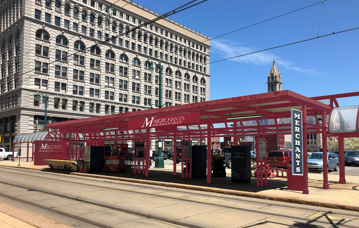 An NFTA rendering shows how the Seneca Street Metro Rail station will look now that the Merchants Insurance Group has bought the naming rights.