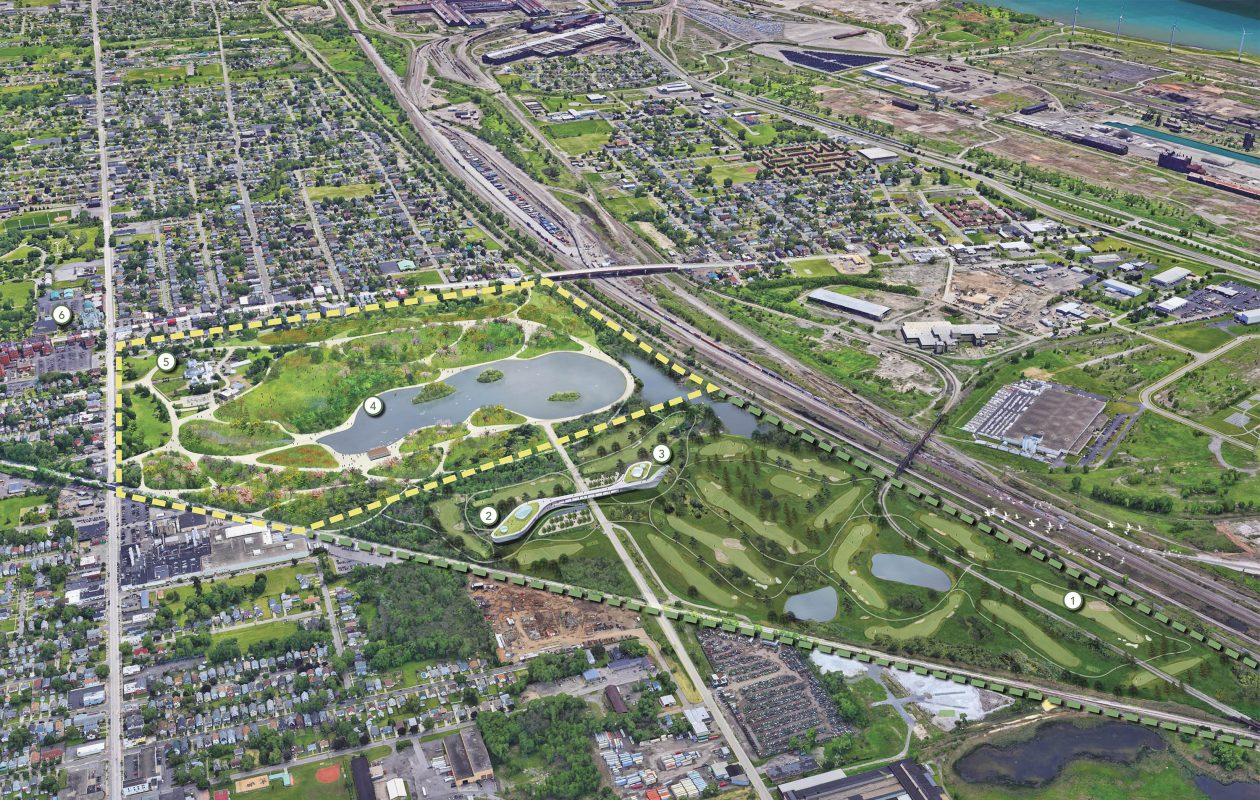 A conceptual rendering of a reimagined South Park and proposed golf course and education center on  former Republic Steel land. CannonDesign created the rendering with Supermass Studio Landscape Architecture. (Image courtesy of Nicklaus Olmsted Buffalo)