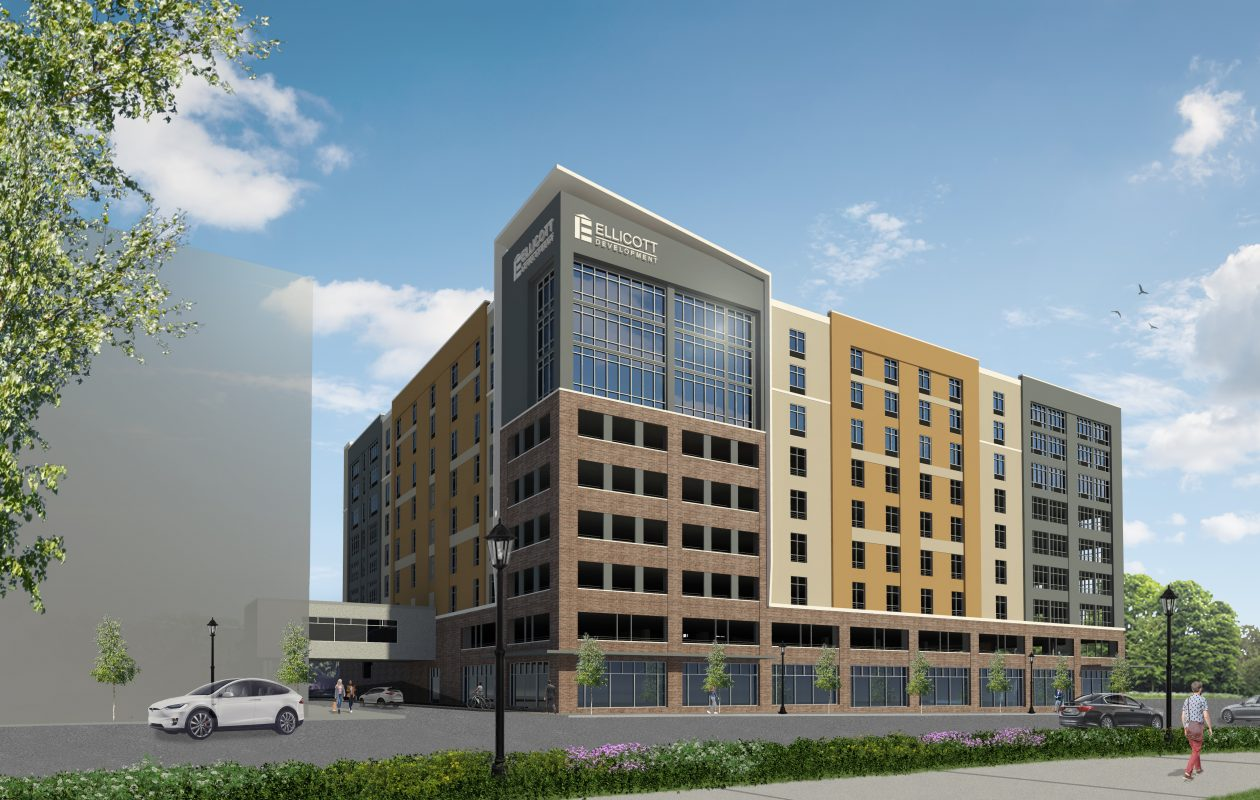 A rendering, from the southwest, of Ellicott Development's proposed nine-story building at 1091 Main St., with a parking ramp, retail space and a hotel. (Courtesy of Ellicott Development Co.)