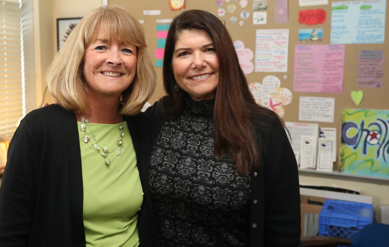 """""""We knew we loved kids, and knew we wanted to work with kids, and that was really the most important thing,"""" said Peg Barrett, left, with Joan Conti, who both became school social workers in 1987, after graduating from the University at Buffalo School of Social Work. (John Hickey/Buffalo News)"""