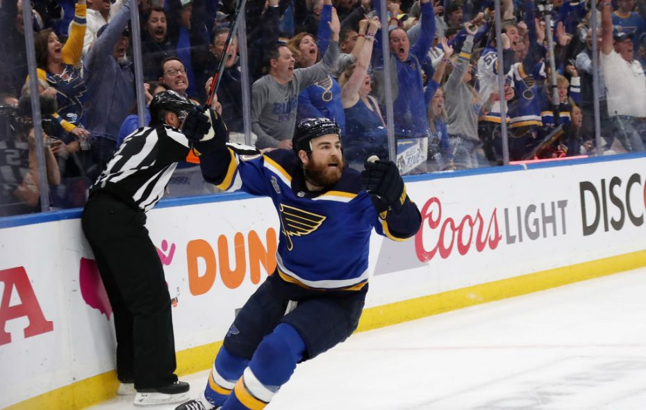 Ryan O'Reilly, shown celebrating his game-winning goal in Game 4, can win a Stanley Cup  with the St. Louis Blues on Sunday night. (Getty Images)
