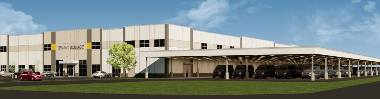 TM Montante filed this rendering of the warehouse and distribution facility planned for its Riverview Solar Technology Park in the Town of Tonawanda under the code name 'Project Bruno.' (Image courtesy of the Town of Tonawanda Planning Department)