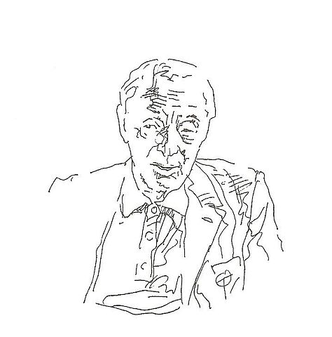 Drawing by Zoran Tucić used in the book of interviews, Razgovori (Conversations, 1999), by Dejan Stojanović.