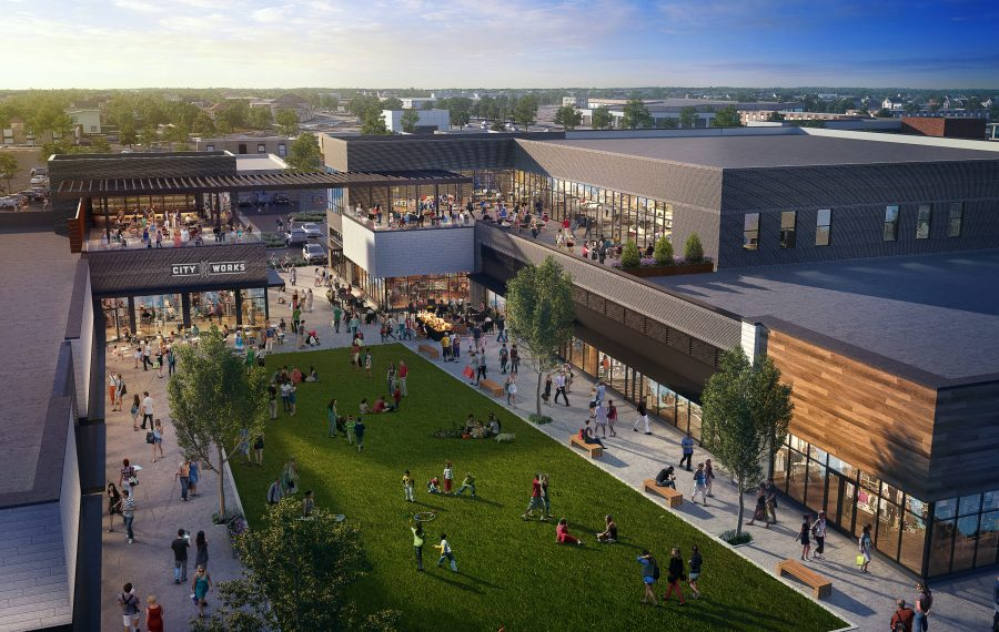 This is an aerial view of what Station Twelve, the transformed Northtown Plaza in Amherst, will look like. (Rendering courtesy WS Development)