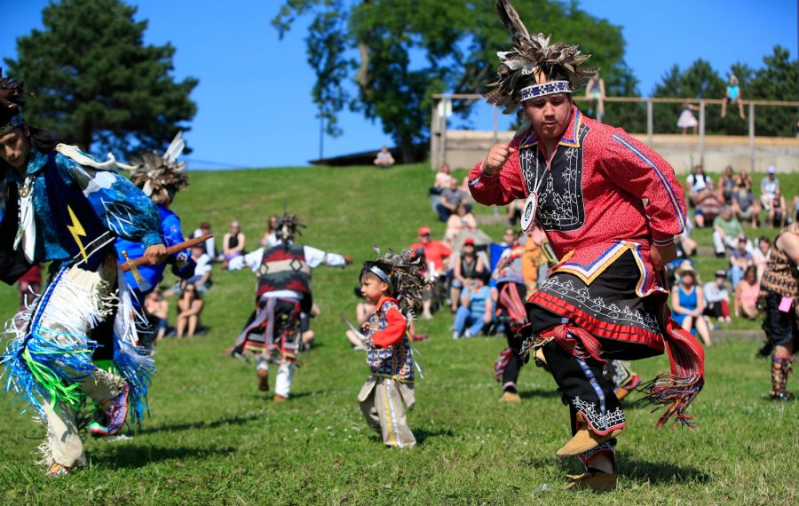 Young and old participate in the Smoke Dance competition at the Strawberry Moon Festival Saturday at Artpark. (Harry Scull Jr./Buffalo News)