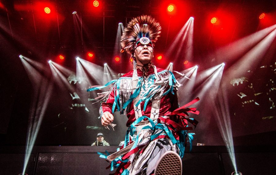 A smoke dancer performing with A Tribe Called Red. The First Nations DJ collective is part of Artpark's Strawberry Moon Festival on June 22. (Photo courtesy of Drew York)