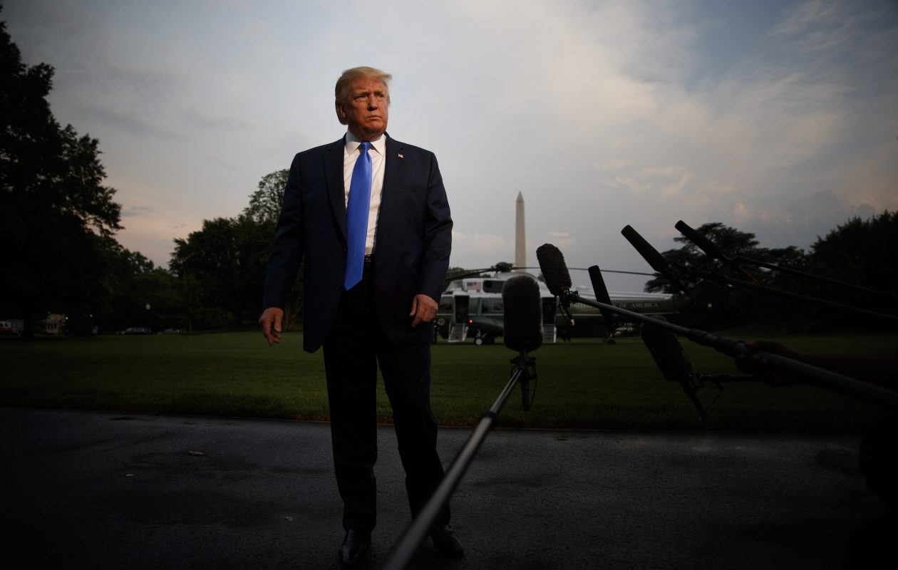 President Donald Trump before boarding Marine One, on the South Lawn of the White House this week. (Tom Brenner/New York Times)