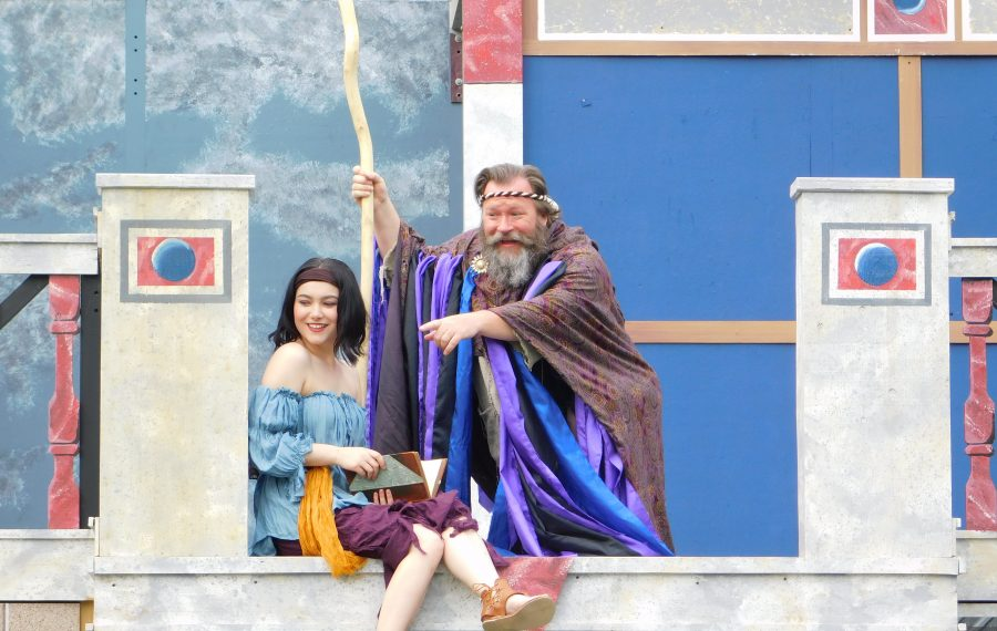 """Christine Turturro (playing Miranda) and David Marciniak (Prospero) are a loving father and daughter   in """"The Tempest,"""" presented by Shakespeare in Delaware Park. (Photo courtesy of Brendan Didio)"""