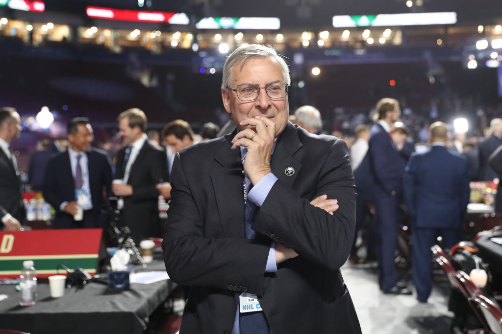 Sabres owner Terry Pegula, on the draft floor Friday night in Vancouver, has a lot to ponder these days (Getty Images).