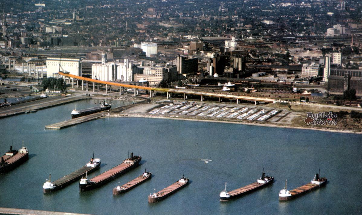 Torn-Down Tuesday: Grain activity along the Buffalo River, 1954