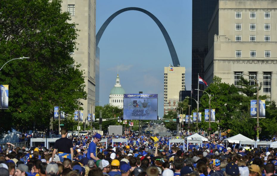 Blues fans gather at Memorial Plaza in downtown St. Louis before Game 6 of the 2019 Stanley Cup Final against the Bruins on Sunday. (USA TODAY Sports)