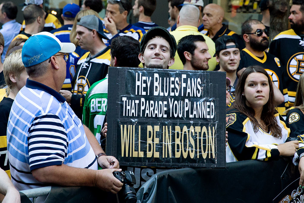 Bruins fans outside TD Garden get ready for Game 7 of the Stanley Cup final Wednesday night. (Getty Images)